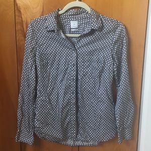 GAP Navy Blue and Tan Patterned Blouse